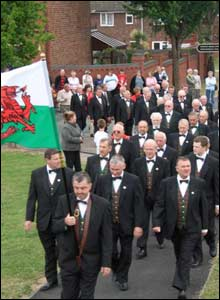 The Flint Male Voice Choir taking part in celebrations for the new mayor and mayoress (Martin Morgan)