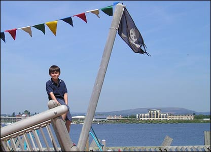 Gareth Littlewood aged eight on holiday from Walton on Thames in Cardiff Bay (Derek Jones)