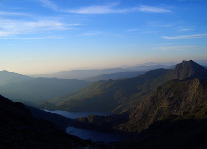 The view from the summit of Snowdon at dusk (taken by Kelly Higgins)