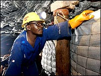 Worker at an Anglo American mine in South Africa