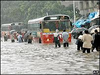 A water logged street in Mumbai