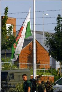 Flag flying at half mast at barracks