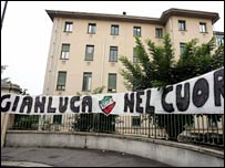 Juve fans show their support for Gianluca Pessotto