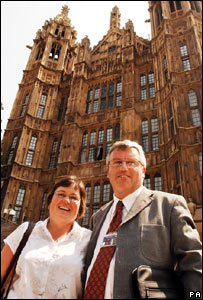 Dai Davies and his wife Amanda at the Commons after his election