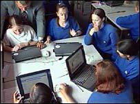 pupils using laptops