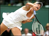 Maria Sharapova in full flight against Elena Dementieva