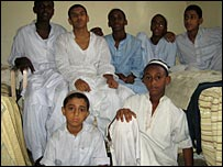 Back row: Saeed Hussain, Iftikhar Ilyas, brothers Hassan and Idris, and Nur. Front: Mehbub (brother of Nur) and Ali Hussain (brother of Saeed)