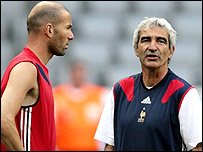 Zidane with France coach Raymond Domenech