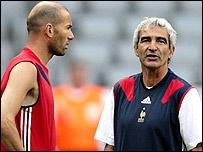 Zidane with France coach Raymond Domenech