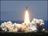 Shuttle Discovery lifts off