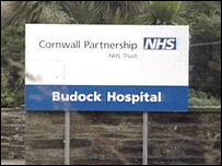 Budock Hospital sign