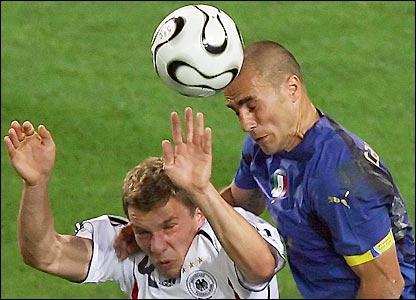 Cannavaro fouls Podolski