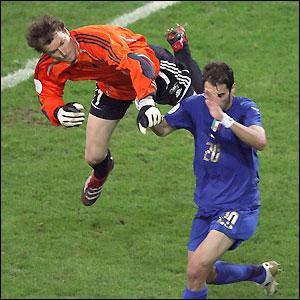 Lehmann gets the man and ball