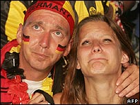 German fans absorb their team's defeat in Dortmund, Germany