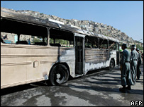The blast hit buses carrying government employees to work