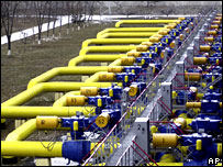 Pipes at a gas storage and transit plant near Kiev, Ukraine