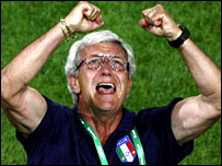 Marcello Lippi celebrates after Italy's 2-0 win over Germany