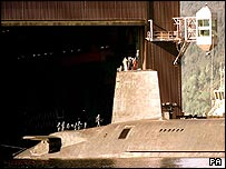 Trident submarine Vengeance at the Faslane naval base