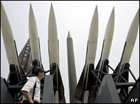 A tourist walks by displays of models of North Korea's Scud-B missile (C) and other South Korean missiles at the Korea War Memorial Museum in Seoul (file picture)