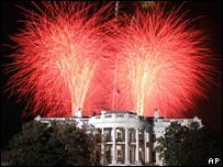 Fireworks marking 4 July Independence Day celebrations explode over the White House