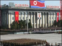 North Korean soldiers parade in Pyongyang to mark the 60th founding anniversary of the ruling Workers' Party of Korea, Monday on 10 October 2005