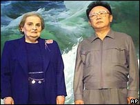 Former US Secretary of State Madeleine Albright shown with Kim Jong-il during a visit to Pyongyang in 2000