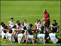 Luiz Felipe Scolari y el equipo portugués