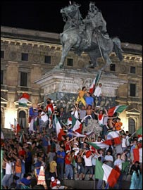 Italian fans celebrating in Milan