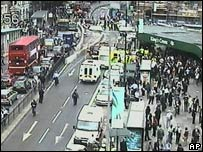 CCTV footage outside King's Cross after the 7 July