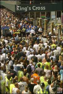 Crowds gathered on 14 July, 2005 to mark the bombs at King's Cross