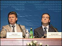 Gazprom Chief Executive Alexey Miller and Chairman Dmitry Medvedev