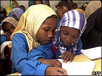 Somali children attend school in Kharaz refugee camp