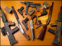 Weapons seized in a police raid