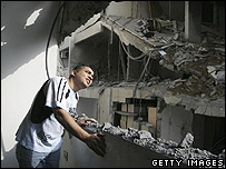 Apartment damaged in an Israeli missile attack in Gaza City