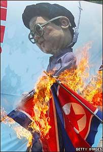 Protestas en Seúl contra Corea del Norte.