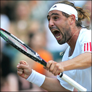 The Cypriot Marcos Baghdadis comfortably despatches Lleyton Hewitt 1-6 7-5 6-7 2-6