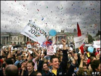 People celebrating London's Olympic bid in Trafalgar Square