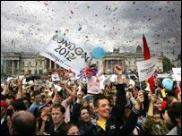 People celebrating London's Olympic bid in Trafalgar Square