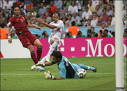 Thierry Henry shoots at Portugal's Ricardo