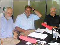 Brian Hoskins, Ed Stourton and James Lovelock.  Image: BBC