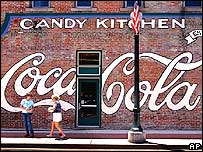 Coca-Cola logo painted on a wall