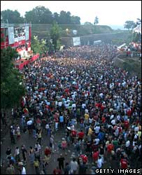 Festival goers party until sunrise at the Exit Festival in Novi Sad, Serbia, 2005