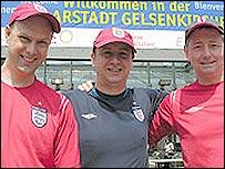 English fans in Germany wearing replica shirts