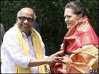 K Karunanidhi  with Congress President Sonia Gandhi