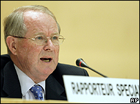 John Dugard, UN special rapporteur on human rights for the Palestinian territories (file)