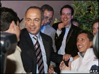 Felipe Calderon greets supporters