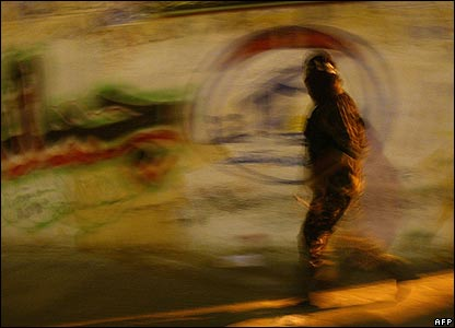 Hamas militant on the streets in Beit Lahiya in the northern Gaza strip