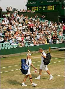 Martina Navratilova waves goodbye to the Court Two crowd