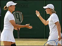 Liezel Huber (left) and Martina Navratilova