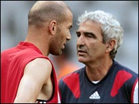 Zinedine Zidane and Raymond Domenech